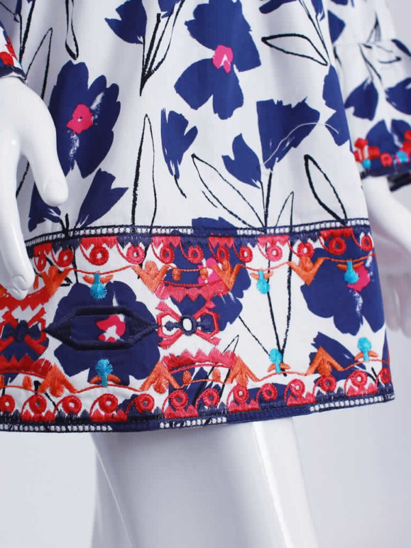 Deep Blue Poppy Top