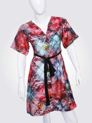 Prismatic Print Belted Dress